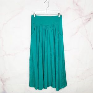 Free People Flowy Teal Maxi Skirt